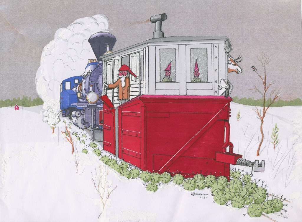 A steam locomotive pushes a box snow plow, where Santa Claus, two elves and a Peter the reindeer travel. The snow plow is not plowing snow, but Corona Viruses off the tracks.