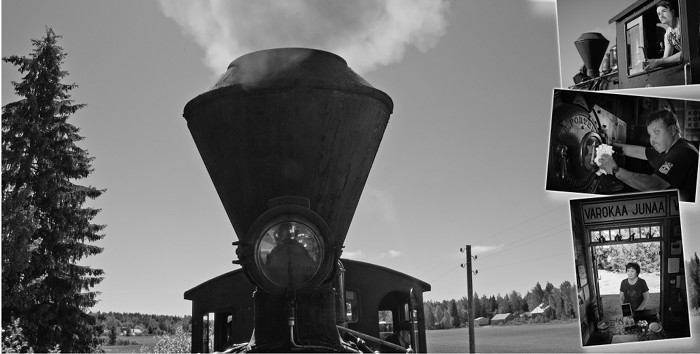 A steam locomotive smoke stack and some track behind. On the side small inserts of people running the museum railway.